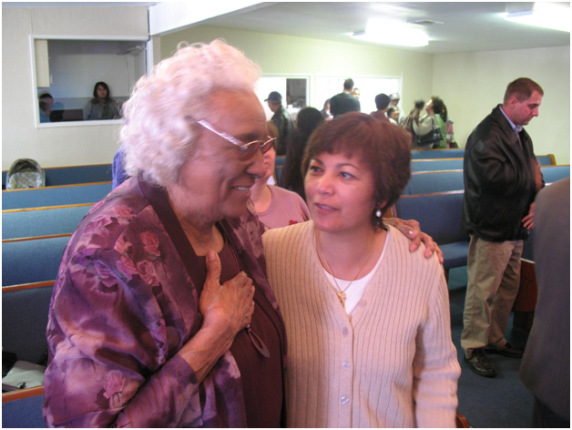 Mother Boudreax (with Sister Mary Jane Hargrove) visits Ablaze Church
