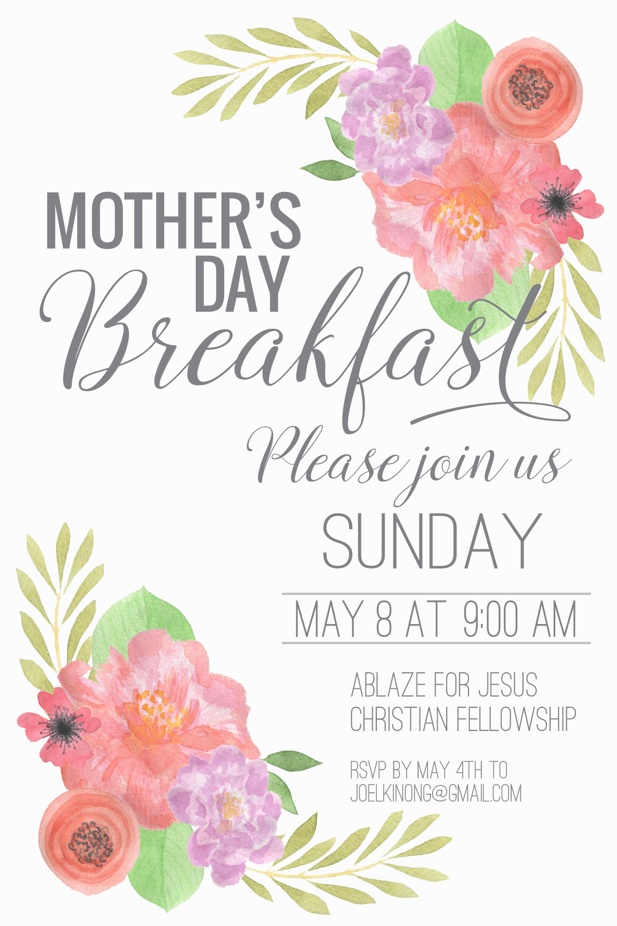 mother s day breakfast invite 4 6 ablaze for jesus. Black Bedroom Furniture Sets. Home Design Ideas