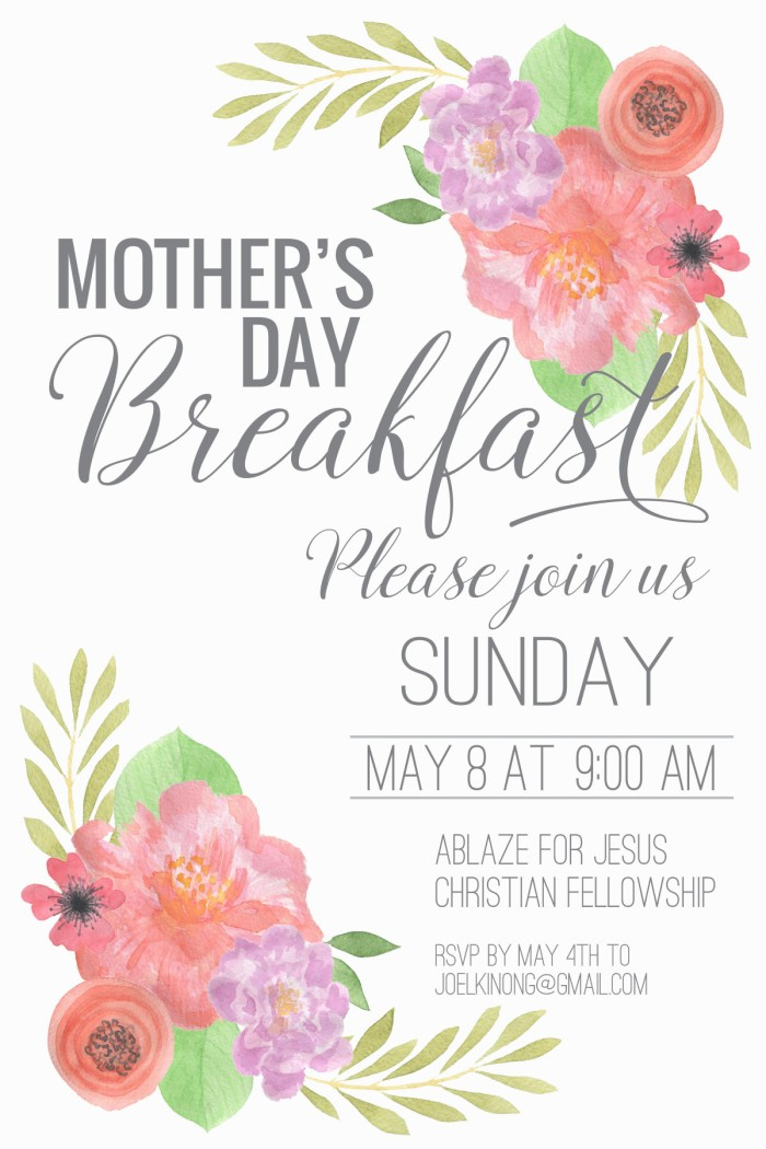 mother's day breakfast invite 4x6